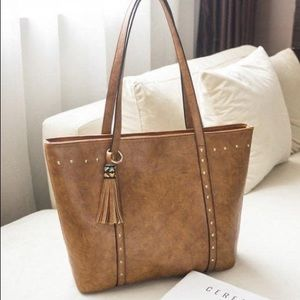 Large PU Leather Tote with rivet accents